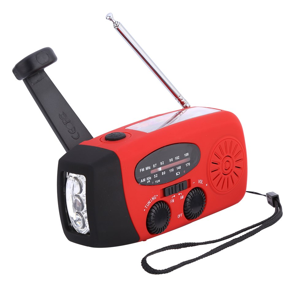 Zerone Solar Powered Hand Crank Radio, Emergency Weather Alert Radio AM/FM Solar Radio with 3 LED Flashlight and Power Bank Phone Charger (Red)
