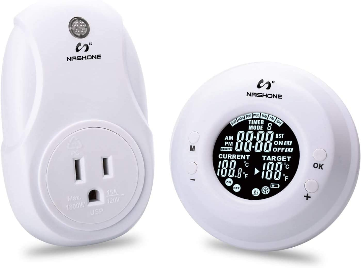 NASHONE 7-Day/4-Period Programmable Wireless Thermostat Outlet,Electric Thermostat Controlled Outlet with Built-in Temp Sensor Romote Control for Heaters and Coolers, Amp 15A