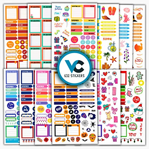 Vladi Creative Planner Stickers - 12 Sheets / 630+ Stickers Value Pack - Productivity & Decorative Stickers for Daily, Weekly, Monthly Planners & Bullet Journals (+Seasonal & Holiday Stickers)]()