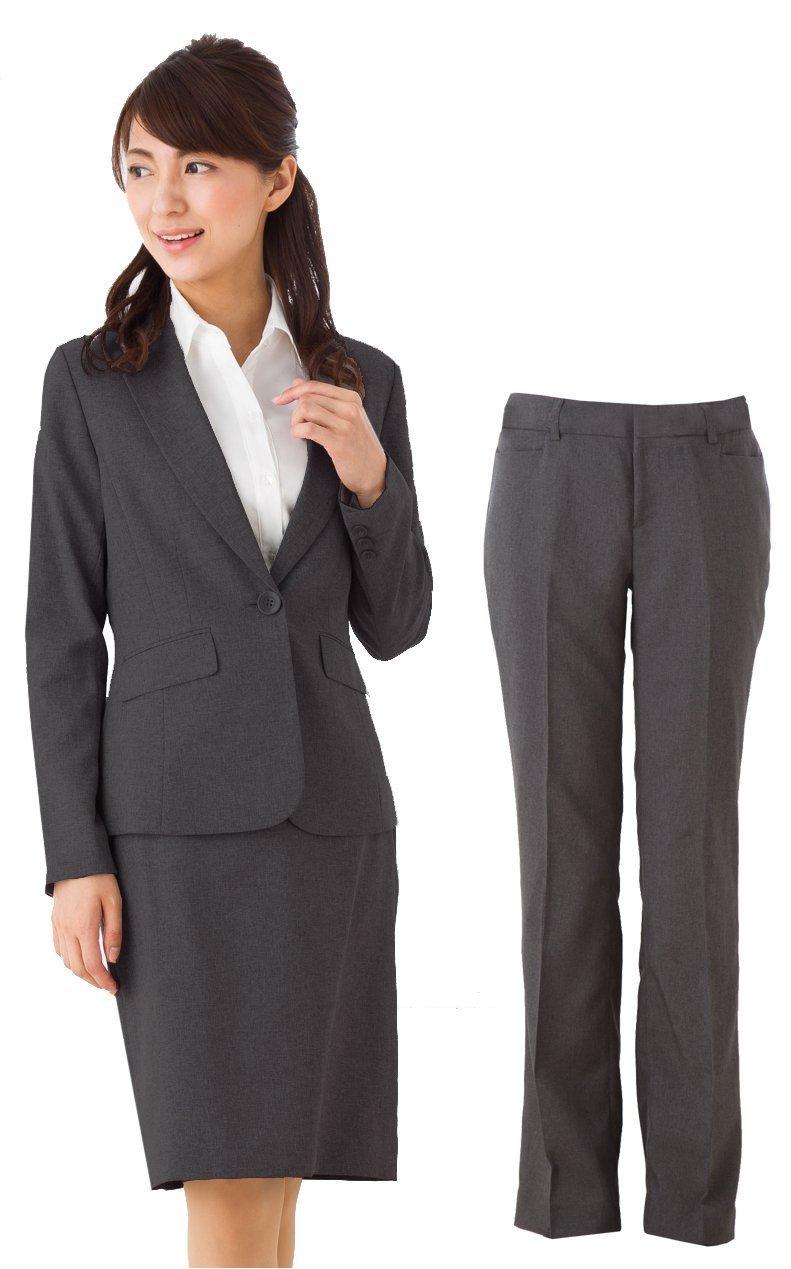 (アッドルージュ) スーツ レディース 3点セット タイトスカート パンツ ジャケット 洗える 洗濯 消臭抗菌【j5001-5002】 B00R4ESLII 23号ABR|【A/1つボタン】グレー 【A/1つボタン】グレー 23号ABR