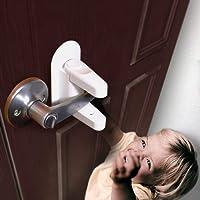 Door Lever Lock,Fabselection Child Proof Lever Door Handle - White