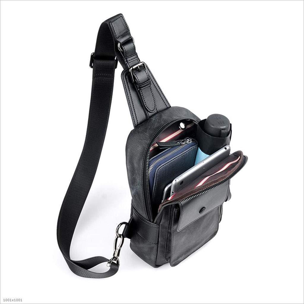 DABUOT Mens Chest Bag Sling Bag Chest Shoulder Messenger Bag,Black