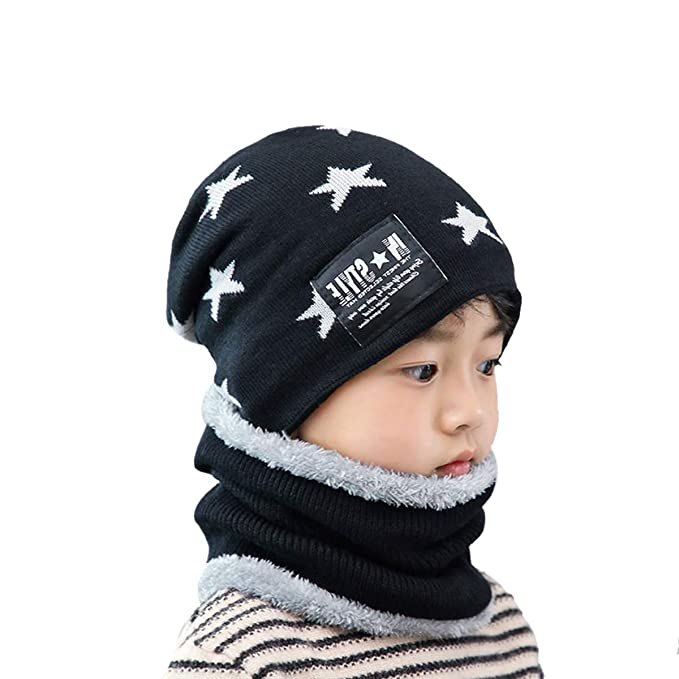 7bf54041 ACVIP Kids Star Knitted Circle Scarf Beanie Hat Boys Girls Winter Warm Sets  (Black): Amazon.co.uk: Clothing
