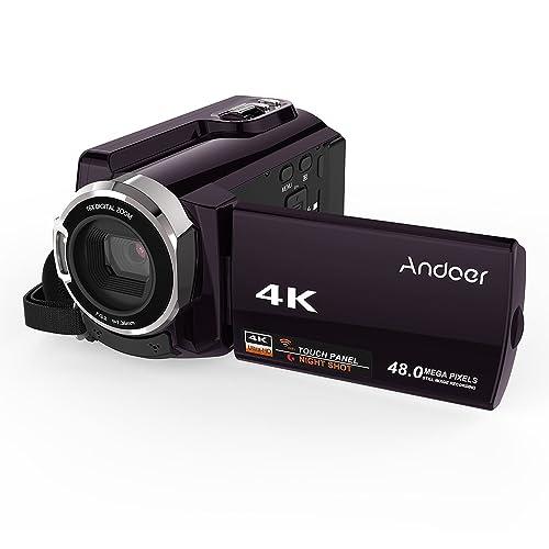 Andoer HDV-534K 4K 48MP WiFi Videocamera digitale 1080P Full HD Novatek 96660 Chip 3inch capacitivo Touchscreen IR Infrarossi Vista notturna Supporto 16X Zoom Face Detect