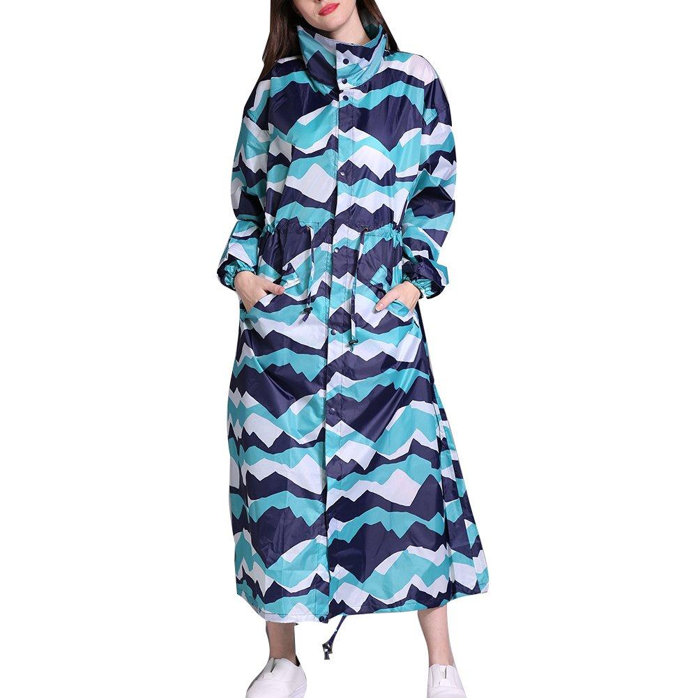 Gagacity Women Waterproof & Windproof Hooded Raincoat Parka Light Fashion Foldable Long Colorful Printed Rainwear 150-170cm