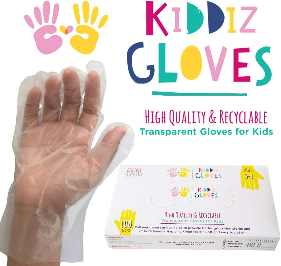 Kiddiz Gloves: Eco-friendly Disposable Gloves for Kids Ages 3 - 8 (100 count)