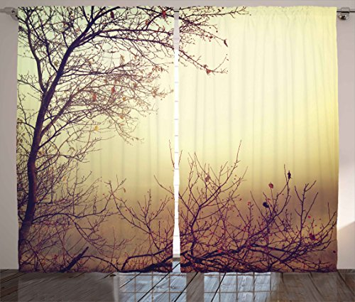 Ambesonne Nature Curtains, Vintage Leafless Autumn Tree Branches Background in Saturated Tones Ecology Art Picture, Living Room Bedroom Window Drapes 2 Panel Set, 108 W X 84 L Inches, Sepia