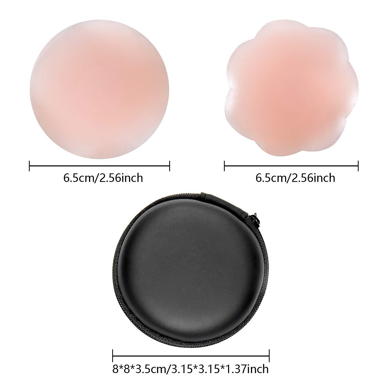 Vordas Welecoco Cubierta de Pez/ón,3 Pares Pezoneras Reutilizables Pezoneras Adhesivas Invisibles de Silicona Pez/ón Forma de Flor, Forma de C/írculo