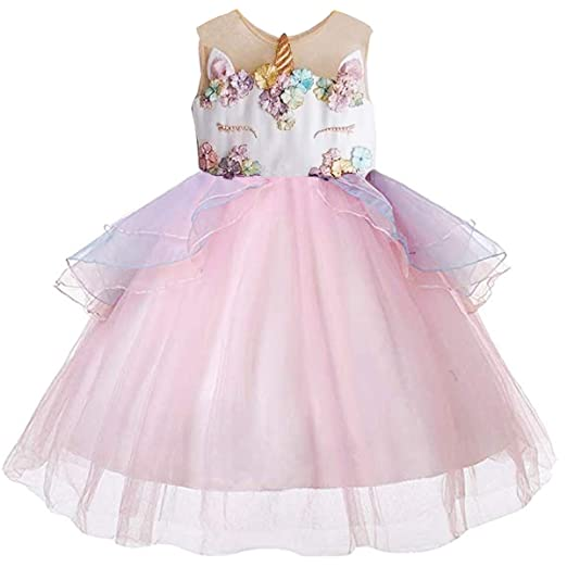 d075bddf94 Amazon.com  CQDY Unicorn Costume Dress Layered Princess Flower Girl  Birthday Party Tulle Cosplay Pageant Dance Outfits Evening Gowns  Clothing