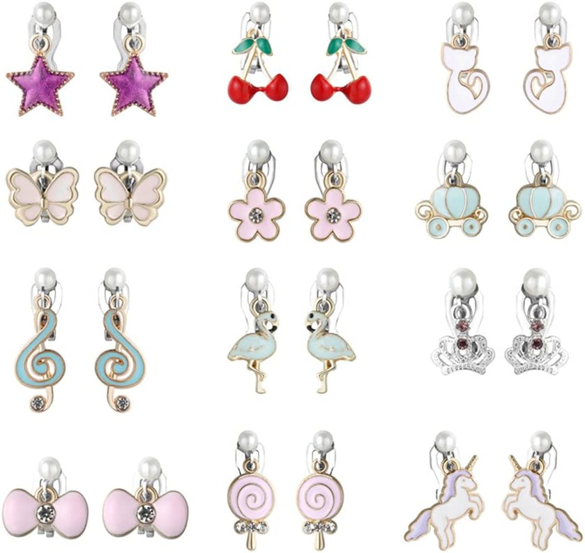 Amazon.com: PinkSheep Clip On Earrings for Little Girls, Flamingo Earrings  Butterfly Earrings for Kids, 12 Pairs, Best Gift (12 Classic): Clothing