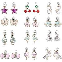 PinkSheep Clip On Earrings for Little Girls, Flamingo Earrings Butterfly Earrings for Kids, 12 Pairs, Best Gift (12…