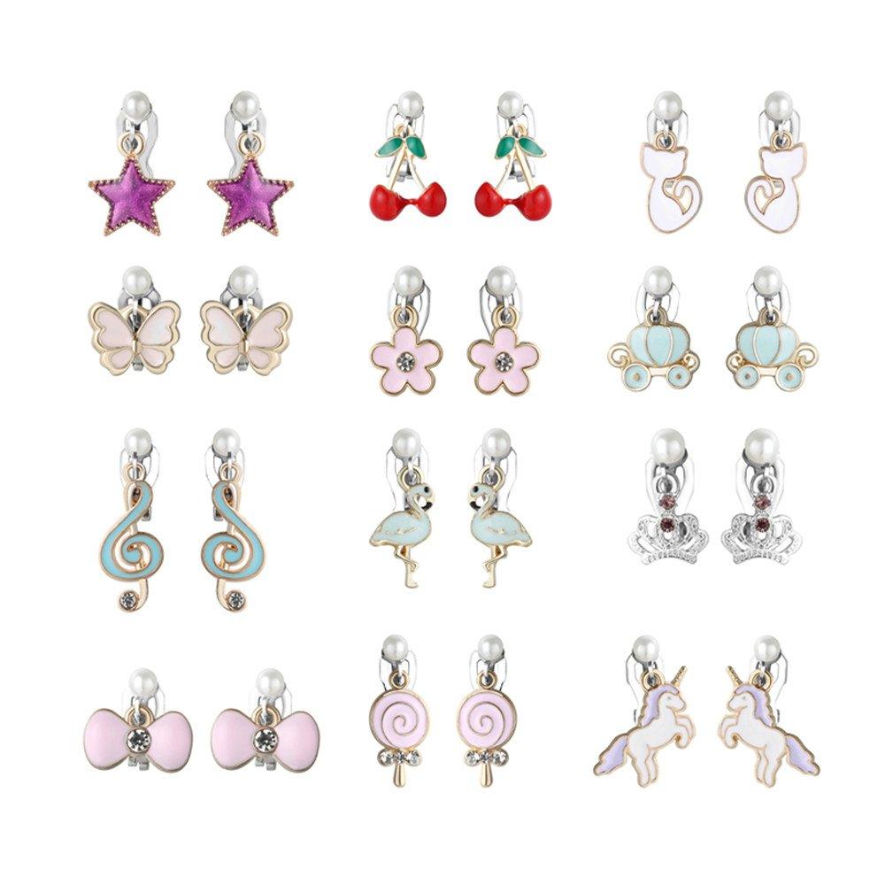 PinkSheep Clip On Earrings for Little Girls, Flamingo Earrings Butterfly Earrings for Kids, 12 Pairs, Best Gift