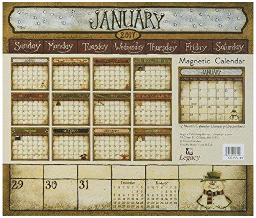 (Legacy Publishing Group 2017 Magnetic Calendar Pad, Folk Art)