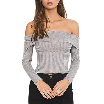 153ca18495135 Women Blouse Daoroka Ladies Sexy Off Shoulder Knit Fold-over Long Sleeve  Shirt Fashion Elegant