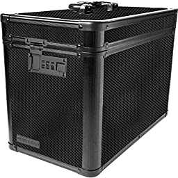 Vaultz Locking Ammo Box with Tether, 10 x 7.88 x 14.25 Inches, Tactical Black (VZ03496)