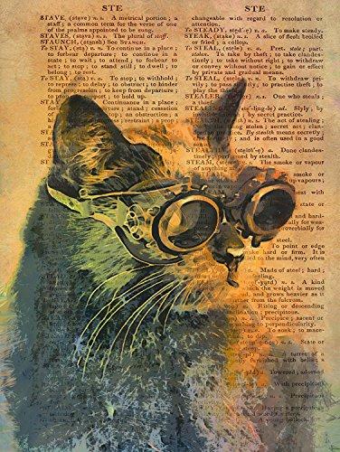 Steampunk Cat Mojo Dictionary Page Vintage Art Print Poster 12 x 16 - Ca Vintage Cat Black Orange