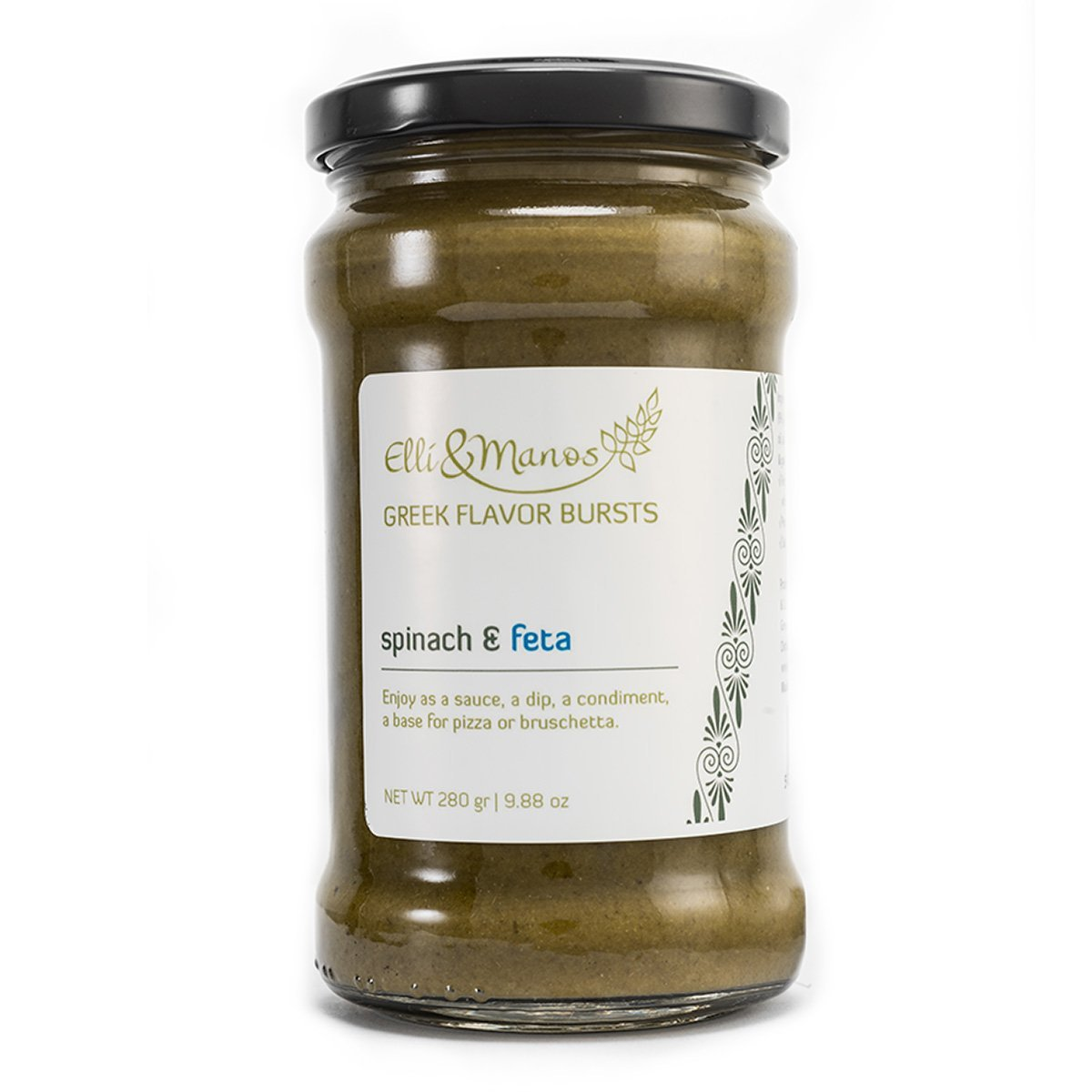 Elli & Manos Greek Flavor Bursts - Spinach & Feta - 280gr/9.88oz - highly concentrated spread/veggie dip by Elli & Manos