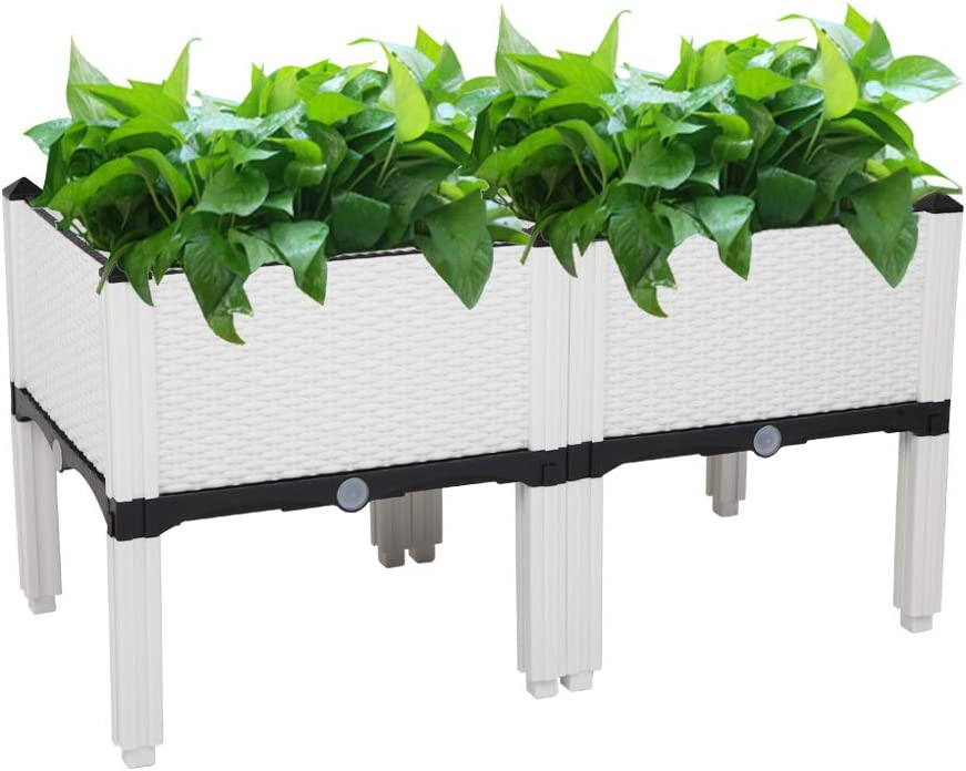YQ WHJB Raised Garden Bed,Self-Watering Plastic Planter Growing Box for Vegetables Herbs Flowers & Succulents in Balcony,Planter Raised Beds with Brackets