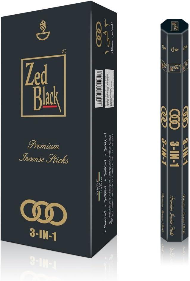 ZED BLACK 3-in-1 Incense Sticks- 3 Pleasant Aromas -Premium Long Lasting 90 Natural Incense Fragrance Sticks-Pack of 6(15 Per Box) Aroma Incense Sticks