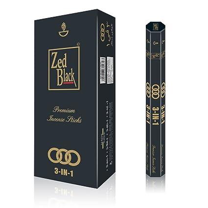 ZED BLACK 3-in-1 Incense Sticks- 3 Pleasant Aromas -Premium Long Lasting 90  Natural Incense Fragrance Sticks-Pack of 6(15 Per Box) Aroma Incense