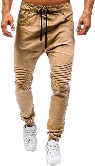 Overdose Pantalones De Hombre De Moda Casual Al Aire Libre Pantalones De Trabajo Multibolsillos Solidos Pantalones Largos De Carga Punos Elasticos Diseno Plisado Original Amazon Es Ropa Y Accesorios