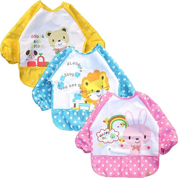 Dusenly 3 baberos con mangas unisex impermeable de manga larga baberos para beb/és de 6 meses a 3 a/ños