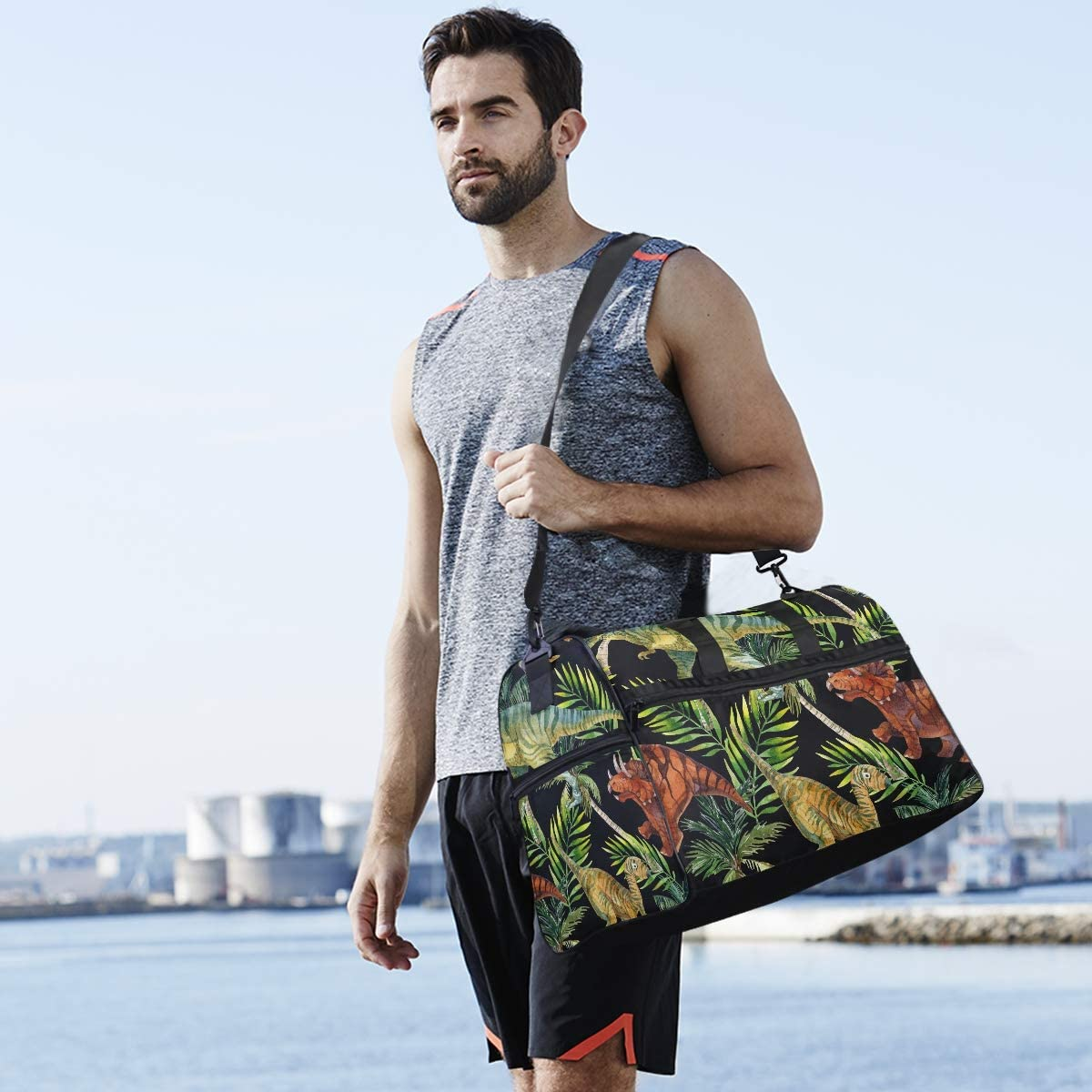Dinosaur Watercolor Seamless Pattern Sports Gym Bag with Shoes Compartment Travel Duffel Bag for Men and Women