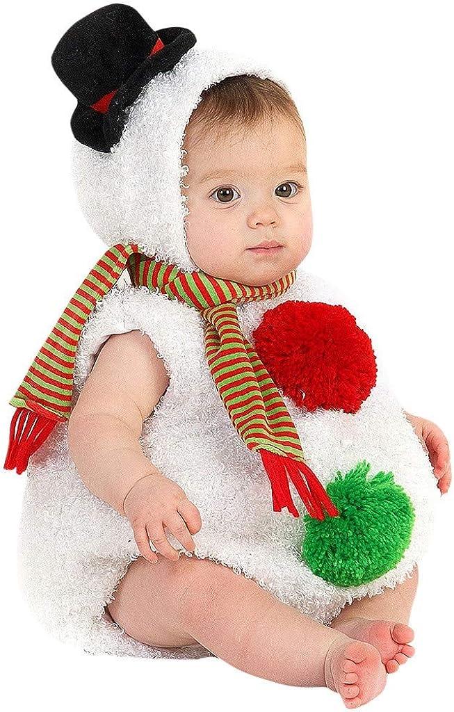 Navidad POLP Baby Monos Disfraz de Muñeco de Nieve Modelado Mameluco de Felpa y Bufanda A Rayas Conjuntos Tops Sin Manga con Capucha Disfraces Christmas