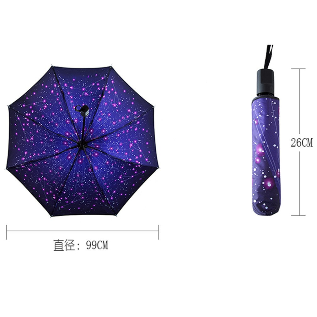 Guoke Umbrellas Sunscreen Uv Protection Umbrellas Vinyl Umbrella Fold A5 Fine Rain. by Guoke (Image #2)