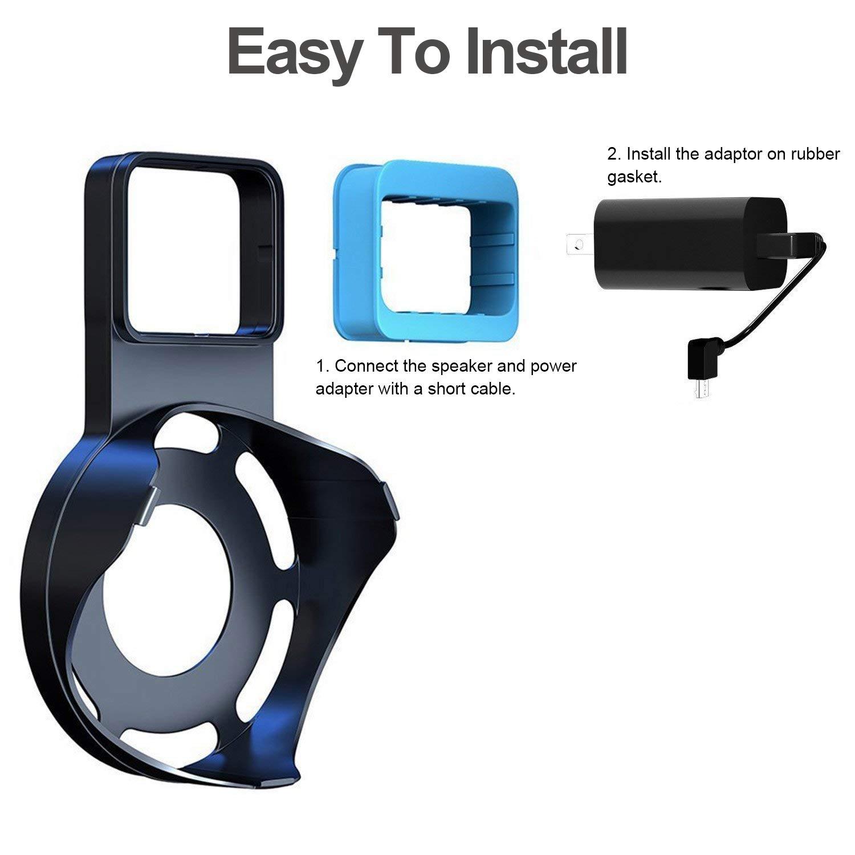 Echo Dot Wall Mount Outlet Hanger - Idealife Speakers Holder for Dot 2nd Generation Speaker Alexia Echo Dot Bracket Plug Mount with Alexa Short Charging Cable, Space-Saving Speaker Hanger (Black)