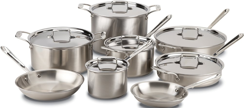 All-Clad BD005714 D5 Brushed 18/10 Stainless Steel 5-Ply Bonded Dishwasher Safe Cookware Set, 14-Piece, Silver