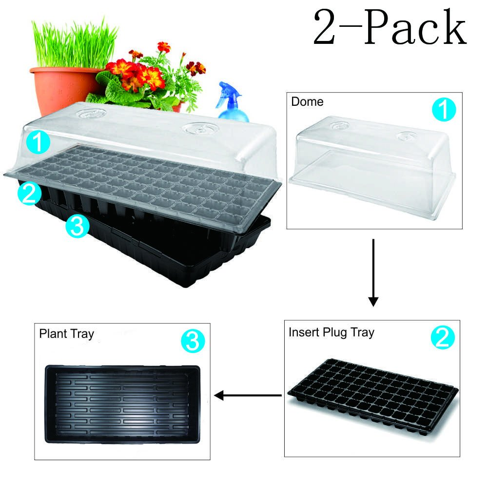 BloomGrow Hydroponic Plant Tray Kit 72-Cell Seed Planting Insert Plug Tray + Plastic Plant Growing Tray + Dome+Seedling Heat Mat for Seed Germination (72-Cell Tray+Plastic Plant Tray+Dome+Mat(2-Pack)) by BloomGrow