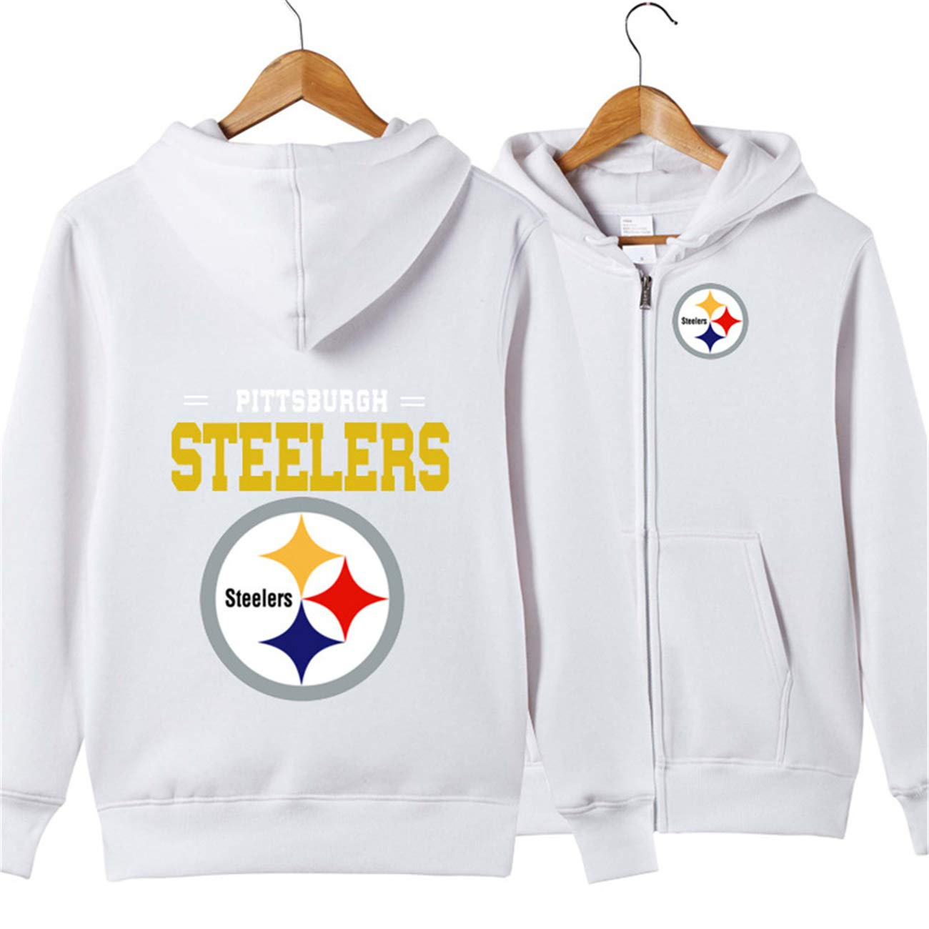 best service ca995 dfa1e JJCat Men's Long Sleeve Hooded Letters Print Pittsburgh Steelers Football  Team Solid Color Zipper Hoodies