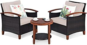Tangkula 3 Pieces Patio Furniture Set, Outdoor Rattan Sofa and Side Table w/Solid Acacia Wood Frame, High Load Bearing Conversation Bistro Set w/Washable and Removable Cushions (Beige)