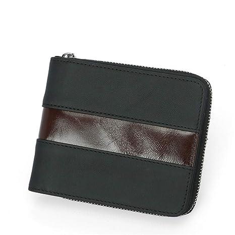 Billetera de hombre Monedero corto de cuero con cremallera ...