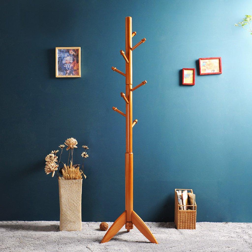 ソリッドウッドコートラックフロアベッドルームハンガー現代シンプルな大胆なコンチネンタルラック (色 : 木の色) B07DNC598T