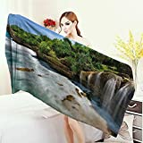Anhounine Bath Pool Shower Towel for Kids Nature Jogan Beach Waterfall View in Java Indonesia Tropical Seashore Scenery Bathroom Towels 63''x31.5'' Green White and Brown
