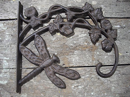 Southern Charm Market Large Cast Iron Basket Hanger - Dragonfly On Ivy - Scroll Work Design - Rustic Bronze - Indoor or Outdoor Use