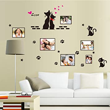 Cat Wall Decals Wall Frame Cute Paw Love Wall Stickers Stars Vinyl Peel Stick Mural Art Wallpaper For Kids Children Baby Family Bedroom Living Room