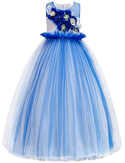 OBEEII Vestito da Principessa Fiore Ragazza Abito Tulle Senza Maniche  Floreale Gonna Tutu per Festa Cerimonia c55e99e7ca8