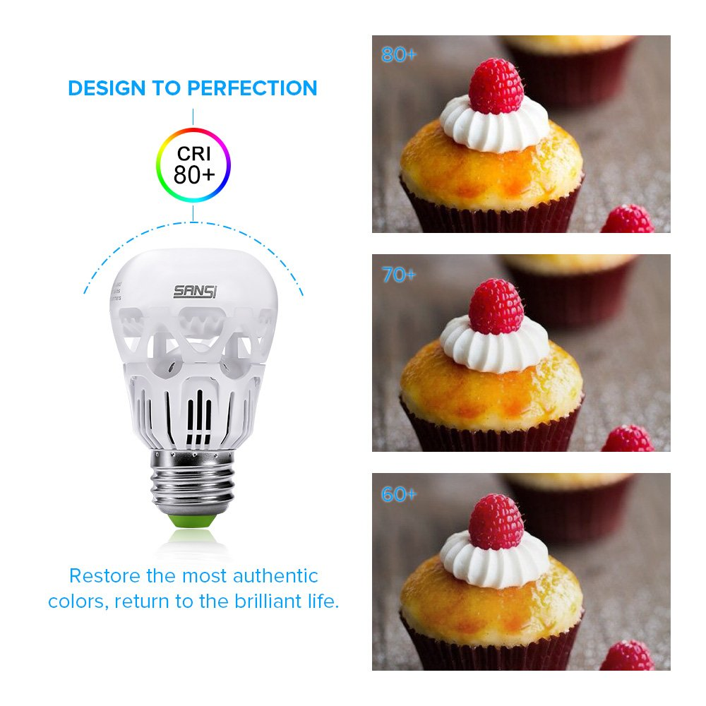 SANSI 40 watt Light Bulbs 5w LED Bulb Equivalent 40w Incandescent Bulb Daylight 5000k Cool White A15 LED Bulb E26 Base 500 Lumen Non-dimmable Energy Saving Bulb for Fans Lamps 5-Year Warranty (6-Pack) by SANSI (Image #6)