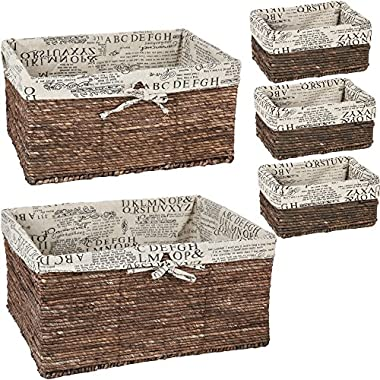 Wicker Home Decorative Storage Organizer Baskets - 5 Piece Set - 3 small at 10.25x6x5, Medium 15.5x12x6.5, Large 17x13.25x7 Inches.
