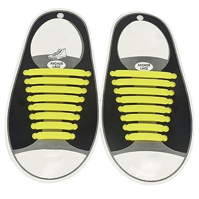 16PCS No Tie Shoelaces Silicone Flats Laces Unique Shoestring Easy Install//Clean