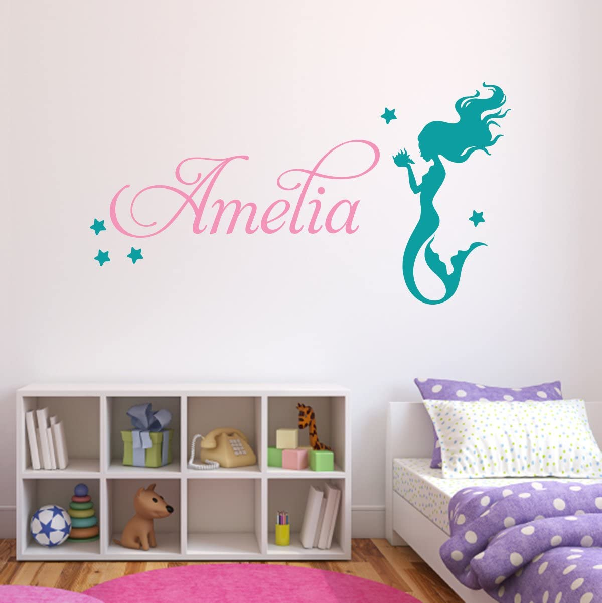 """Lovely Decals World LLC Personalized Mermaid Name Wall Decal Nursery Baby Room Mural Art Decor Vinyl Sticker LD10 (18"""" W x 10"""" H)"""