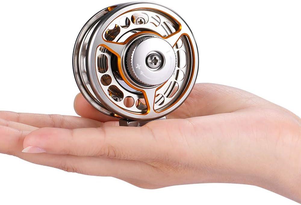 Carrete de pesca con mosca de aluminio para zurdos y diestros relaci/ón 1:1 para pesca en agua dulce