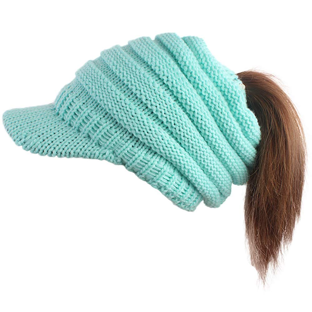 cad73c2e51e Ababalaya Womens Girls Winter Warm Bun Ponytail Hole Ski Knit Visor Beanies  Skull Cap
