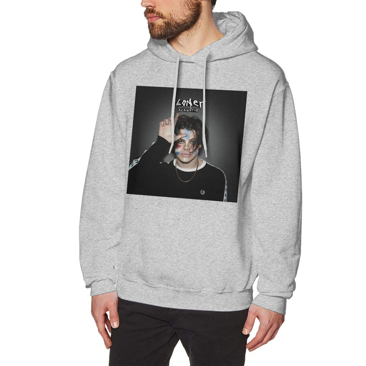 Hazelknorton Graphic Yungblud Mens Cotton Graphic Hoody Gray Long Sleeve Sweatshirt