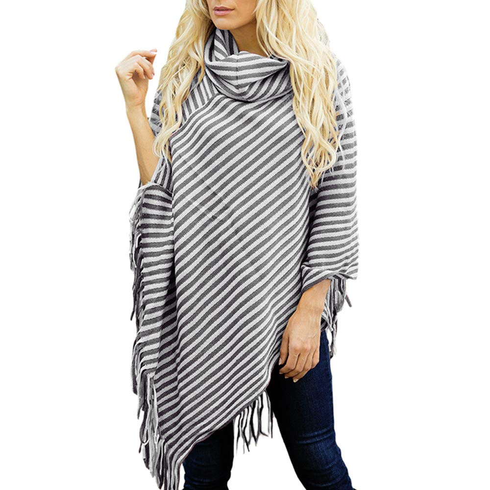 StyleV-shirts 2018 Women Diagonal Striped High Collar Shawl Autumn Fringed Cloak Sweater