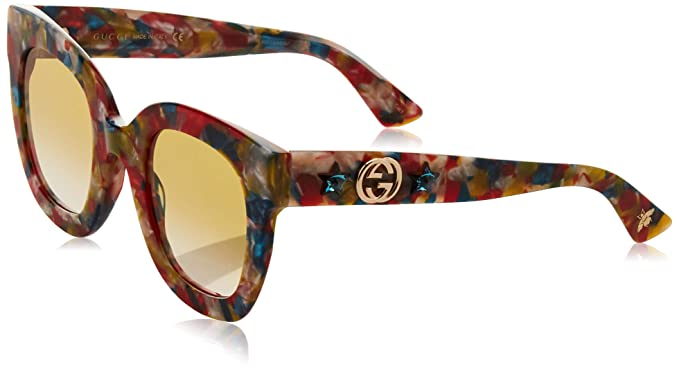 8b827ef0c92 Image Unavailable. Image not available for. Colour  Gucci GG0208S MULTICOLOR  RED YELLOW SHADED women Sunglasses