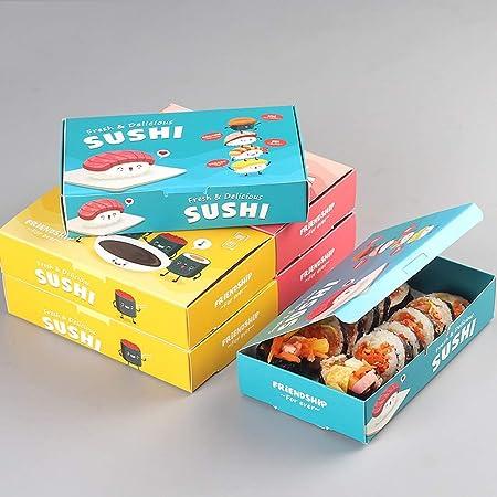 GYY Caja de Sushi de Papel Espesado desechable - Paquete de Compra de lotes de Comida para merendar Picnic en un Horno de microondas [100 Pack] (Color : Pink): Amazon.es: Hogar
